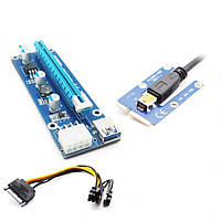 Адаптер-райзер MINI PCI-E x1 to 16x, 60 см USB 3.0 Cable SATA to 8Pin Power ver. 006C (RX-riser-006c 8 pin)