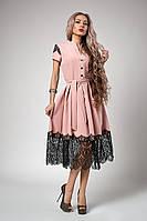 Шикарное женское платье с кружевной отделкой, пудровое, фото 1