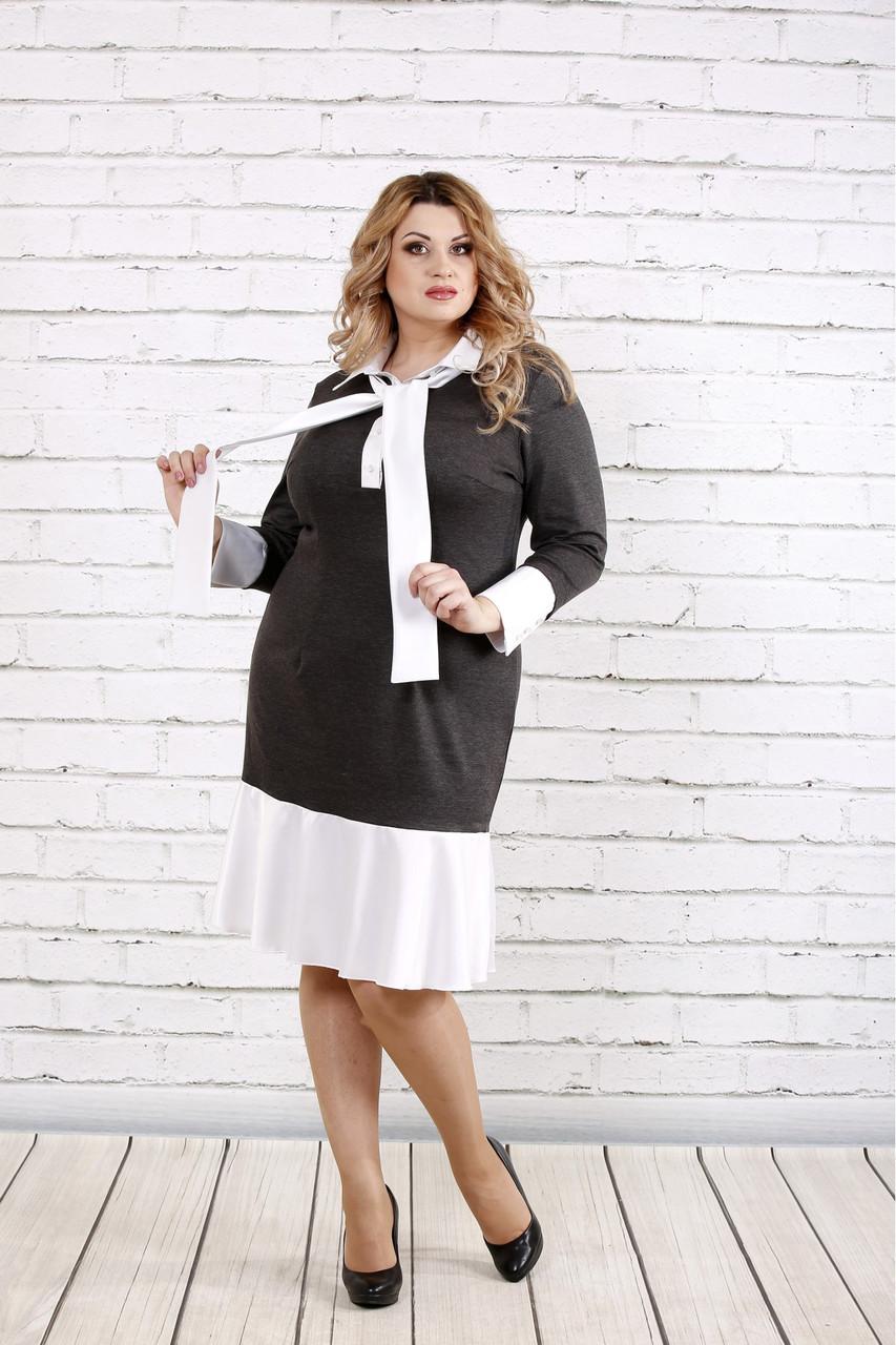 f27405ec9718 Офисное платье для полных женщин 0759 серое
