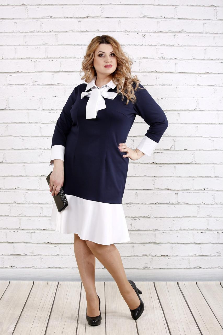 Стильное платье для полных женщин 0759 синее