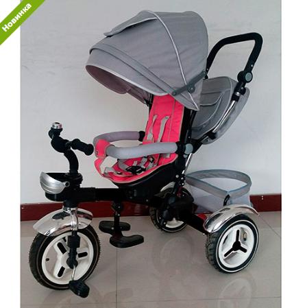 Трехколесный велосипед M 3200A-7 (аналог Puky Cat S6), серо-розовый  *