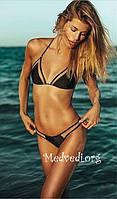 Черный раздельный купальник, женский, с сеткой, размер S, на худеньких