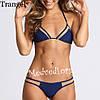Синий раздельный купальник, женский, с сеткой, размер S, на худеньких