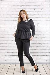 Женский костюм больших размеров casual 0756 серый