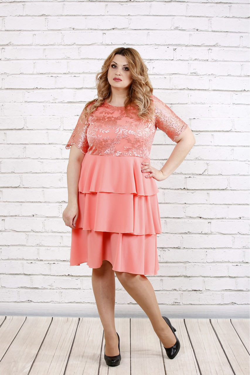 3b8e6f321eb Шифоновое платье больших размеров 0754 розовое - DS Moda - женская одежда  оптом от производителя в