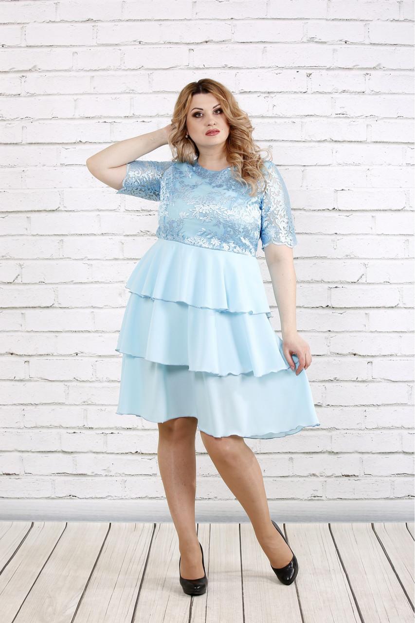 9c926c25165 Платье на выпускной для полных женщин 0754 голубое - DS Moda - женская  одежда оптом от