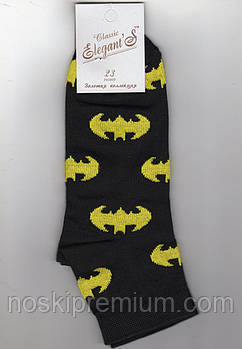 Носки подростковые демисезонные х/б Elegant Classic, 23 размер, Бэтмен - чёрные, 01524