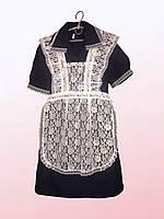 Школьное платье синего цвета с фартуком (1803/2)