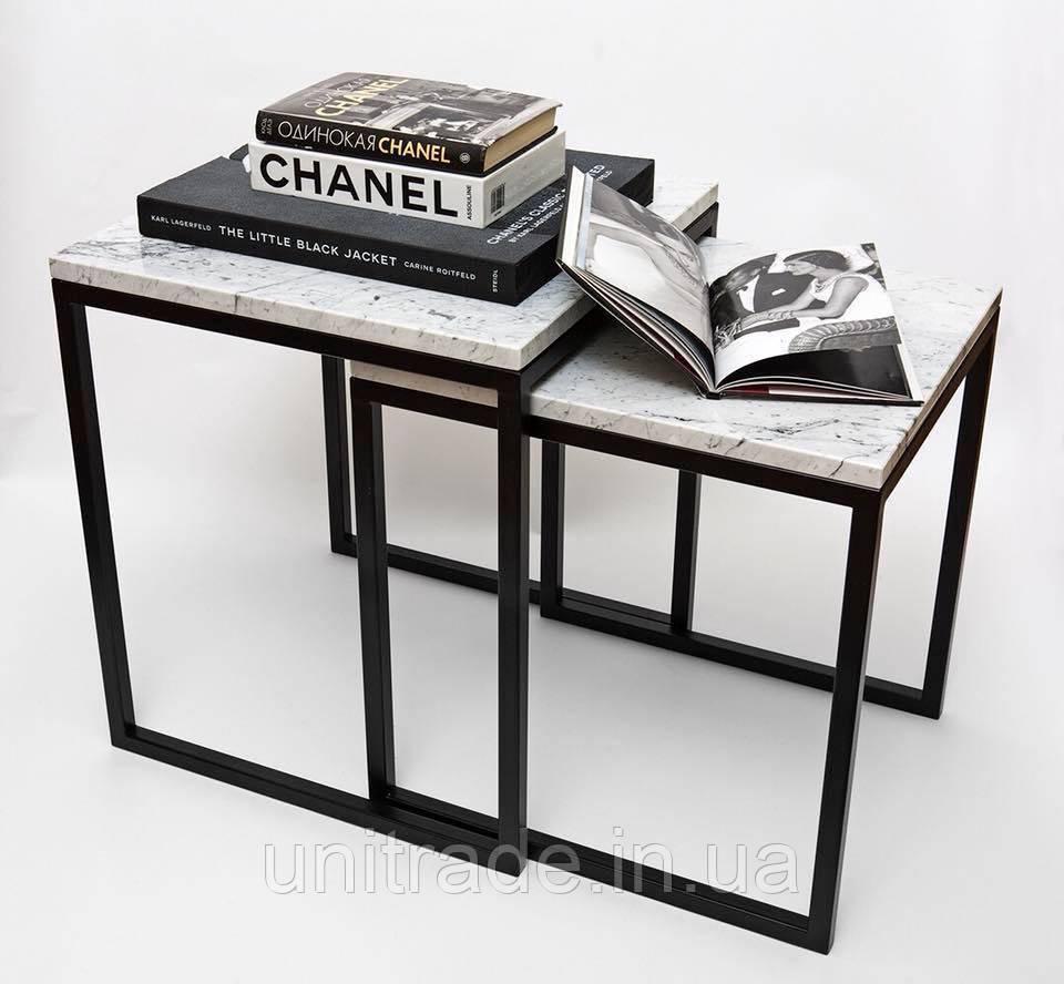 Стол кофейный двойной Winterfall из натурального мрамора - 2 шт. комплект
