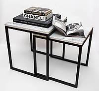 Стол кофейный двойной Winterfall из натурального мрамора - 2 шт. комплект, фото 1