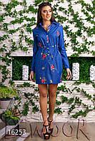 Платье джинсовое с вышивкой цветами