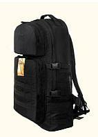 Тактический армейский туристический супер-крепкий рюкзак 60 литров чёрный. Армия,охота,спорт,туризм,рыбалка