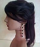 Комплект удлиненные вечерние серьги  с  черными камнями и браслет, высота 11 см. , фото 4