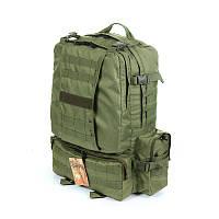 Тактический армейский походный крепкий рюкзак на 50 литров олива. Туризм,армия,рыбалка,охота,спорт.