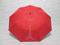 Женский зонт полуавтомат двусторонний однотонный красный с принтом Эйфелевой башни , фото 1