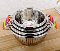 Друшлаг кухонный из нержавеющей стали 24см силиконовые ручки