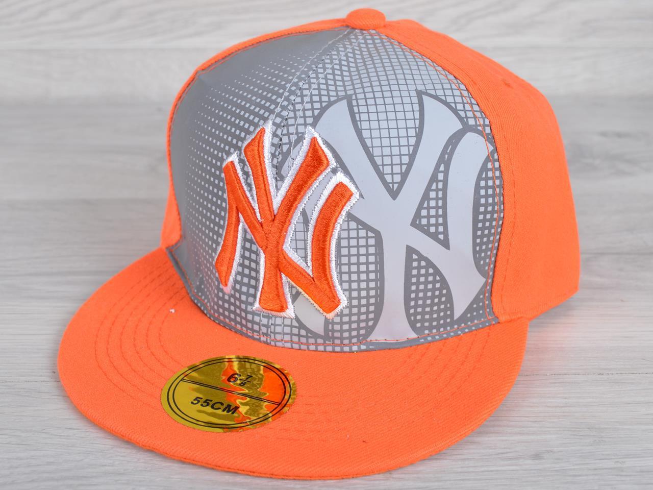 """Кепка-реперка детская """"NY"""". Размер 54-55 см. Оранжевая. Оптом и в розницу."""