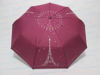 Женский зонт полуавтомат двусторонний однотонный вишневый с принтом Эйфелевой башни , фото 1