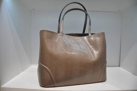 Классическая женская сумка, натуральная кожа бежевой ящерицы taype, 0125-1088, фото 2