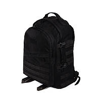 Тактический походный супер-крепкий рюкзак с органайзером 40 литров чёрный. Кордура 500 ден. +Поясной Ремень