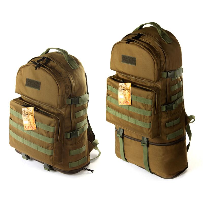 Тактичний туристичний супер-міцний рюкзак 40-60 літрів койот. Армія, рибалка, спорт, туризм
