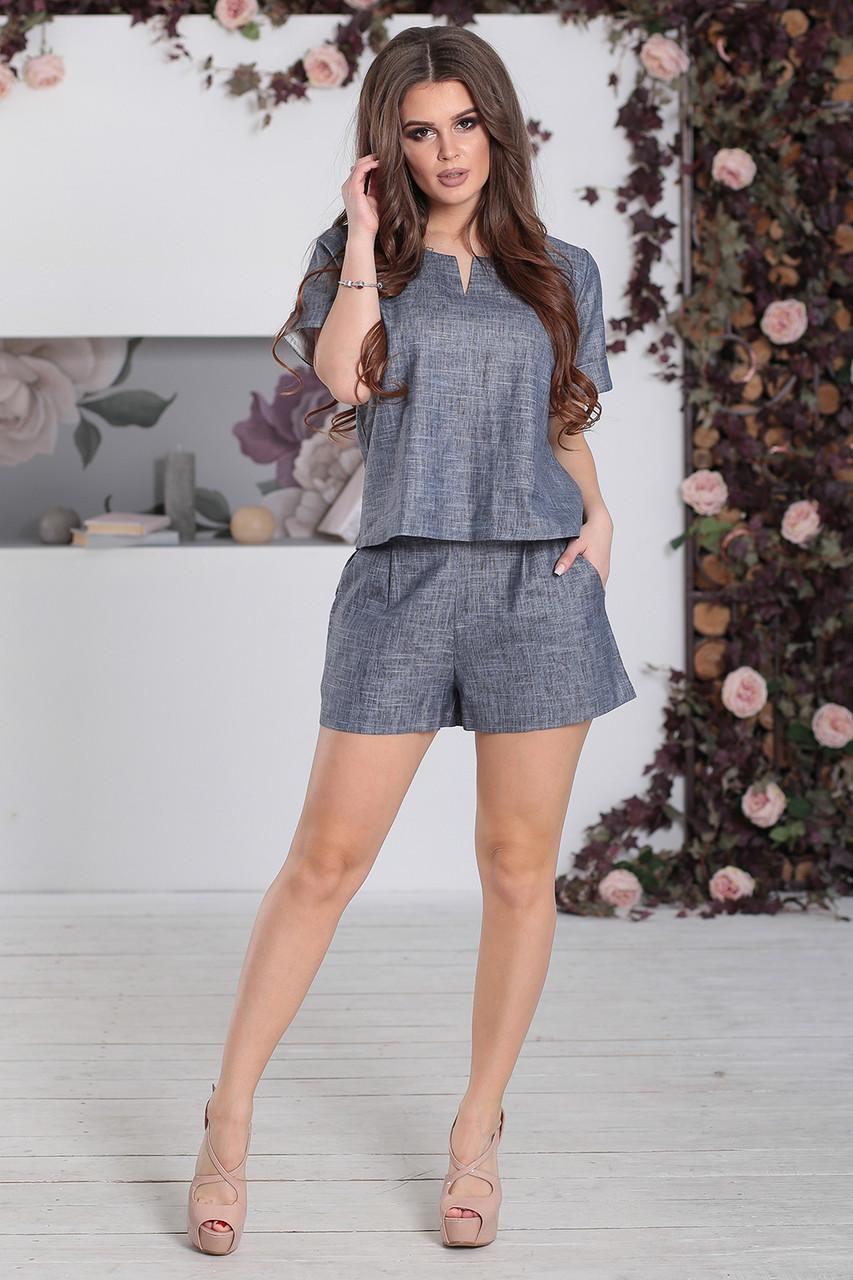 Костюм летний Шорты+Топ в цвете джинс