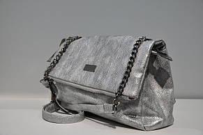 Женская сумка с клапаном, серебро, 0431-4712, фото 3