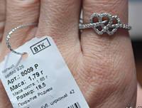 Каблучка срібна кольцо серебрянное 8009 родированное