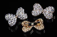 """Брошь """"Бантик"""" (золото) в белых камнях, украшения для одежды, ювелирная бижутерия"""
