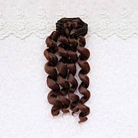 Волосы для кукол кудри в трессах, теплый пряный каштан - 15 см