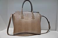Кожаная сумка женская классическая с тиснением ящерица 1803-1062
