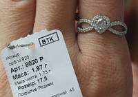 Каблучка срібна кольцо серебрянное 8020 родированное