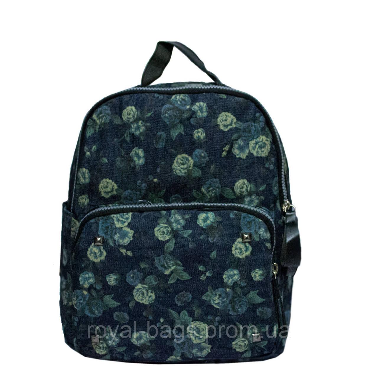 Джинсовый рюкзак с цветочным принтом 5 Рисунков (Зеленые розы)