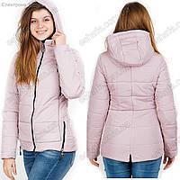 Весенняя куртка с капюшоном для женщин розового цвета  42-50рр