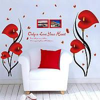 Наклейка настенная в комнату Антуриум красная