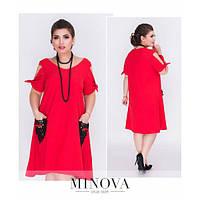 Платье женское большого размера А-силуэта+кружевные карманы в виде сердца MNV-1195 красный
