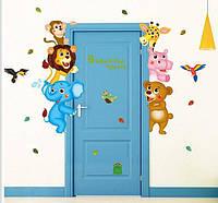 Наклейка для детской комнаты на стену Креативный мир животных