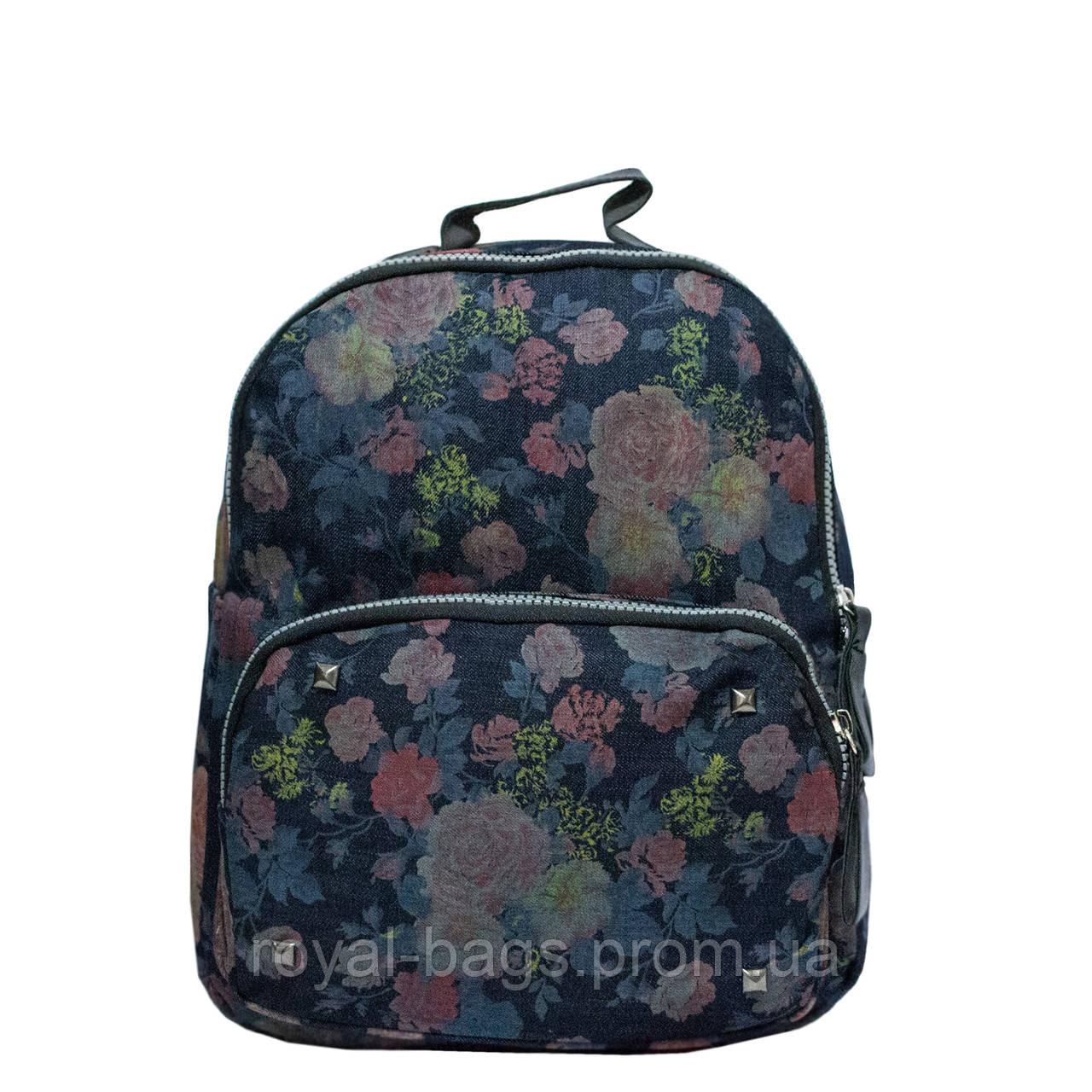 Джинсовый рюкзак с цветочным принтом 5 Рисунков (Коричневые цветы)
