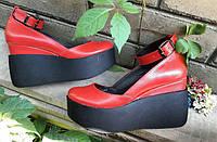 Туфли Кожа красные  с застежкой