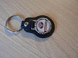 Брелок кожзам округлый Daewoo эмблема Деу автомобильный на авто ключи комбинированный , фото 2