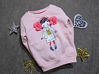 """Теплая кофта с начесом для девочки """"Девочка с бантиками"""" Турция на 2, 3 года, фото 1"""