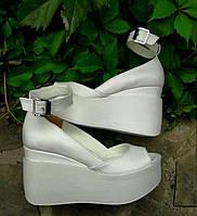 Туфли Кожа  белые открытые  с застежкой