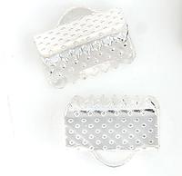 Зажим для ленты, 10 ммx 8 мм, Цвет: серебро, Обжимной концевик для ленты