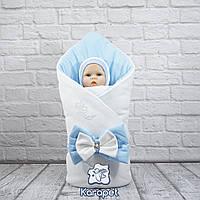 """Одеяло на выписку """"Бантик"""" голубой-белый велюр"""