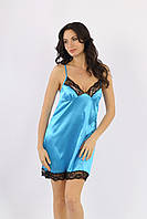 Атласная женская сорочка голубая с черным Ksena