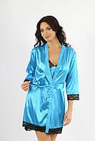 Атласный женский голубой халатик с черным кружевом