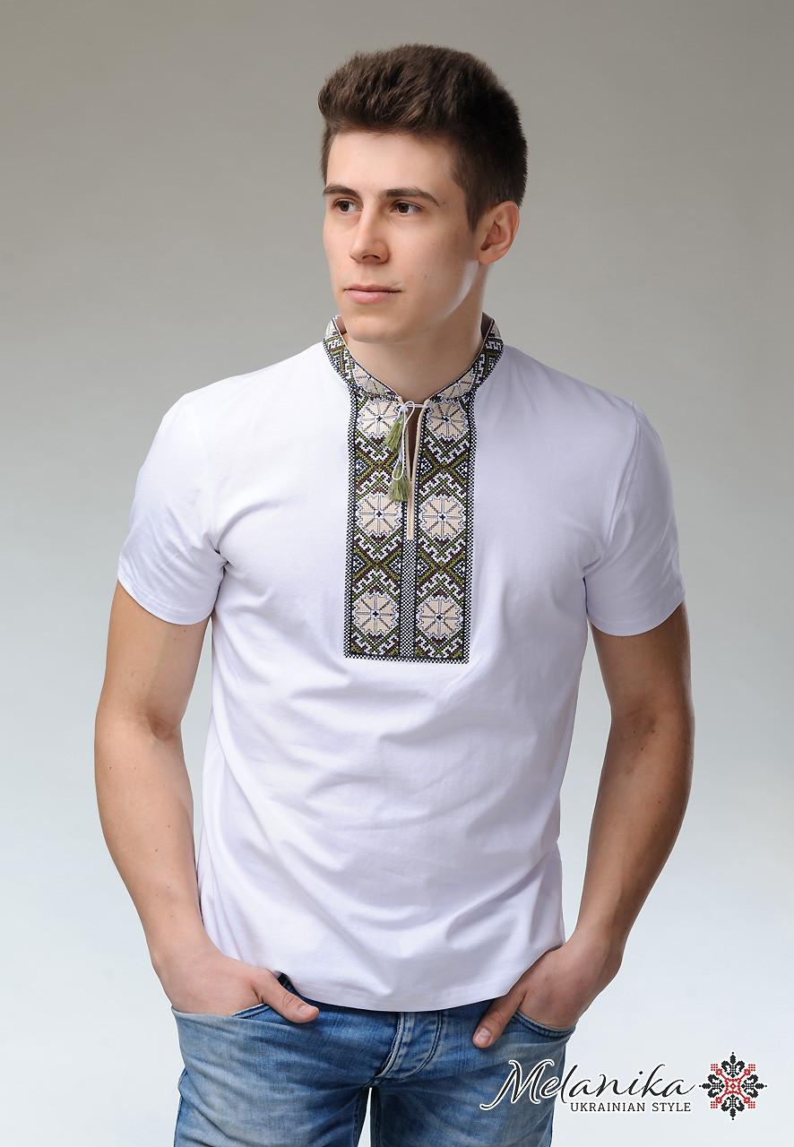 4c839f93a6ee42 Модна чоловіча вишиванка на короткий рукав «Сонечко (біла вишивка)» -  ЛЬВІВСЬКИЙ ВИРОБНИК