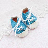Обувь для кукол, ботиночки чешуя металлик, бирюза - 7*3.5 см