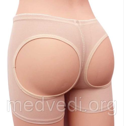 Бежевые трусы лифтеры, моделирующие шорты для коррекции бедер и ягодиц - Booty Maker, Размер XL
