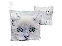 Подушка декоративная Белый кот  45*45 см